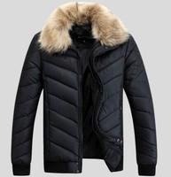 2014 Winter Men's Lightweight Padded Warm Business Jackets Man Casual Slim Fit Outdoor Young Men Korean Coat  Fur Collar