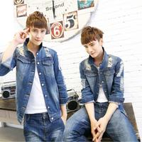 2014 male denim top outerwear hole denim jacket 1188-t517p88