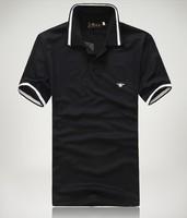 Cheap Sell Slim Men Pure Polo Shirt, Black Short Sleeve Lapel Fashion Men's Clothing Free Shipping