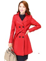 Wholesale New Autumn and Winter 2015 Fashion Casual Medium-Long Slim leather Trench Coat Female Free Shipping