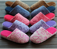 2014 New Winter Striped Mute Silent Animal Slippers Women Korea Love for Men Home Flooring Cotton Slippers Warm Shoes Plus Size