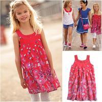 free shipping 2014 dresses girls chiffon dress with diamond girls sundress with cotton linging 5 6 7 8 9 10 11 12 years