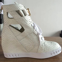 White Snakeskin GZ Sneakers 2014 New Fashion Cutout High Wedge Women Sneakers,Genuine Leather Trendy Sneakers