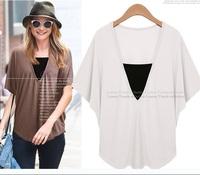 new 2014  women fashion summer plus size clothing tops women  cotton V-Neck t-shirts woman shirt 3color XL-XXXXXL 3550