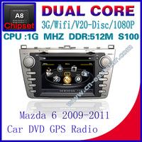 Car DVD for Mazda 6 2009-2011 S100 gps radio bluetooth car kit TV USB Wifi 3G 1G CPU Video dvd Free shiping 1247
