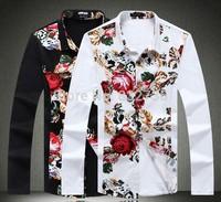 2014 Autumn Brand High quality Men long shirts flower Style plus size M L XL XXL XXXL 4XL 5XL white and blackFree shipping