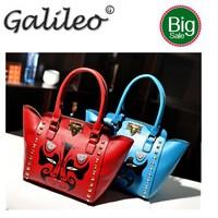 Hot Brand Designer Rivet Women Messenger Bag PU Leather 3D Cartoon Gun Crossbody Bags For Women Shoulder Travel Bag Black