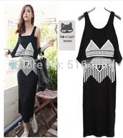 Free shipping korea style women's sleeveless  loose  black vest dress geometric print mid calf length dress  2 piece set UK