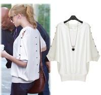 2014 New Fashion  spring batwing sleeve button decoration cutout slim waist t-shirt  female 1631