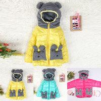 2014 winter The new children clothing cute cartoon Bear coat pocket warm jackets coats clothes baby kids boys girls  free ship