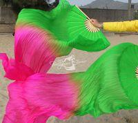 Real Silk Fan Veil For Belly Dance China Silk Veil Fan Veil Green -  Rose Color