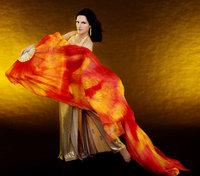 Tie Dye Belly Dance Thicker Silk Fan Veil Nebula Design 180cm