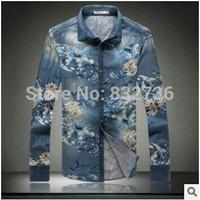 Big Size 5XL 4XL 3XL Autumn Men  print cowboy shirt Fashion Casual long sleeve Shirts XXL XL M  Men's shirts