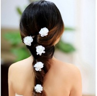 36pcs/lot Free Shipping Wedding Bride Fabric Flower Hair Pins. Party Prom Woman Crystal Camellia hairpins hair clip