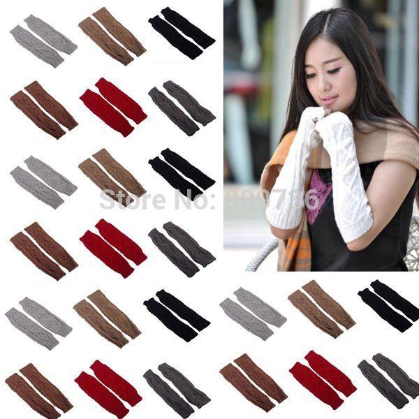 Free Ship New Fashion Winter Mitten Warm Unisex Men Women Arm Warmer Fingerless Knitted Long Gloves Mittens Retail Wholesale(China (Mainland))
