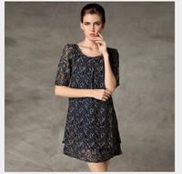 2014 autumn ladies' black  loose lace dress plus size upscale hollow out dress for fat women elegant straight dresses 2XL3XL4XL