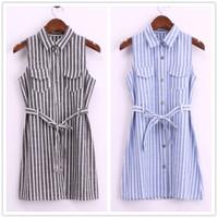 Vestidos Summer 2014 New Office Lady Business Women Fashion Denim Sleeveless Casual Striped Tank Jeans Shirt Dress Lady Blouses