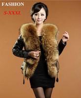 Colete De Pele 2014 Winter Women Fight Mink Big Fox Fur Collar Rex Rabbit Fur Coat Faux Fur Jackets Thicken Women's Overcoat E92