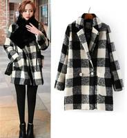 2014 New Winter Women Korean Vintage contrast color Plaid pattern Lapel Long Sleeve Wool Blends Outwear Medium Long Trench Coat
