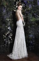 2015 Fashion White Sexy Lace Spaghetti Straps Backless Bridal Wedding Dress Gown