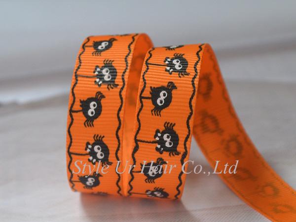 CLEARANCE Fashion Halloween ribbons 25mm animal printed orange grosgrain ribbon 20yds(China (Mainland))
