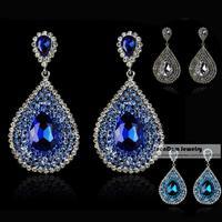 SeenDom Top Luxury Multilayer Rhinestone Water Drop Brinco Crystal Dangle Bride Earrings Wedding Dress Jewelry SCE023