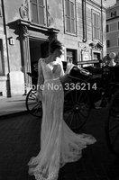 2014 Hot Sale Sheath Lace Backless Wedding Dress With Long Sleeve Bridal Gown vestido de noiva curto Bride Dresses Custom Made
