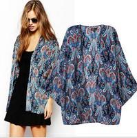 [B-1269]   2014 new women kimono jacket retro national wind totem printing kimono sleeve  female cardigan jacket coat