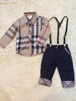 New 2014 Brand Children Boys Clothing Sets brand design Boy Fashion long-sleeved  Shirts + Long pantsboys suit autumn spring 2-7