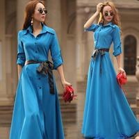New 2014 fashion women mopping long dress irregular single breasted polo collar slim plus size autumn winter dress