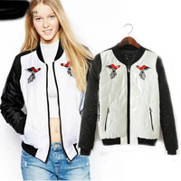 [B-1321]  Free shipping 2014  women's color block  jackets  causal  Crane  embroidery  pattern  jacket