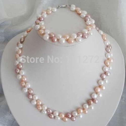 Jewelry set 7-8mm White/Pink/Purple Akoya Cultured Shell Pearl Necklace Bracelet Beads Jewelry Stone BV441 Wholesale Price(China (Mainland))