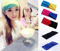 The new 2014 Twist Yoga knot headband stretch lycra turban spring ealstic hair band headbands free shipping