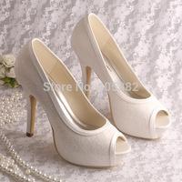 Free Shipping Wedding Platform Shoes Women Pumps Open Toe Cream Lace Bridal Dropshipping