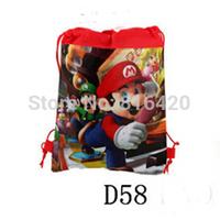 1 piece Playing Mario Print Drawstring Children Shopping Bag Kids Printing Cartoon Backpacks