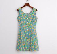 Vestidos Summer 2014 New Lady Women Fashion Floral Pineapple Print Sleeveless Beach Tank Dresses T Shirt Dress Junior Clothing