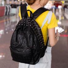 HOT SALING! 2014 autumn women's skull handbag school handbag leather bags Casual women backpack free shipping(China (Mainland))