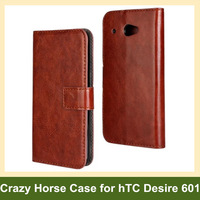 Luxury Crazy Horse Pattern PU Leather Folding Wallet Flip Cover Case for hTC Desire 601 Free Shipping