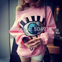 2014 fall new high quality pink loose oversized Eye Sequins sports Pullovers sweatshirts harajuku Casual sweatshirt for women