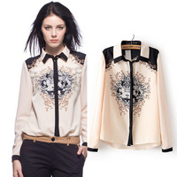 [B-1196] Free shipping Spring 2014 new women long sleeve blouse  fashion  patchwork  blouses