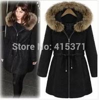2014 New European Fashion Style Adjustable Waist Fur Collar Thicken Coat In Winter Women Quality Woolen Middle Long Outwear