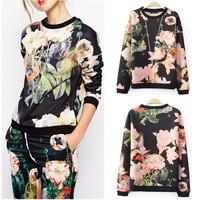 2014 New Autumn Women's Contrast color Big Flower Print Crew neck Long sleeve Pullover Jumper Hoodies Sweater Sweatshirts Tops