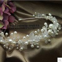 Free Shipping Crystal Hairbands Wedding Headband Pearl Crystal Hairband Side Fascinator Tiara Fashion Wedding Bridal Accessories