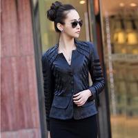 Free shipping Women's patchwork leather jacket slim short design genuine leather jacket