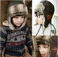 Free shipping 1 piece Winter warm Children Bomber Hats kids Boy Cap+age 2~ 6 years,plus velvet ear baby hat beanie