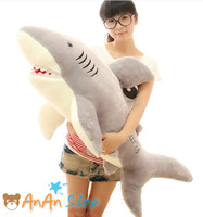New Cute Stuffed Animal Doll 39'' 1m Big Plush Great White Shark Soft Toy Hold Pillow Birthday Christmas Gift Free Shipping