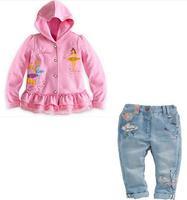 2014 new arrive children girls hoodies +jeans high quality  2pcs set children cloth kids autumn wear children clothing set