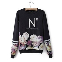 2014 fall new high quality brand black Floral Pullovers sweatshirts loose oversized Casual sweatshirt for office women work wear