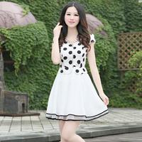 2014 summer slim one-piece dress fashion patchwork racerback one-piece dress fairy