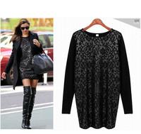 New 2014 fashion lace long-sleeve basic shirt loose slim long-sleeve dress women o-neck long-sleeve plus size WF-252
